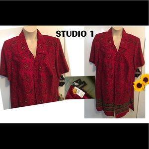 Studio 1 Brick Red Animal Print Jacket/Tunic 22W